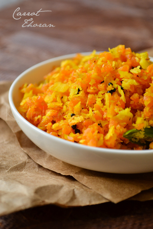 Carrot thoran in a plate